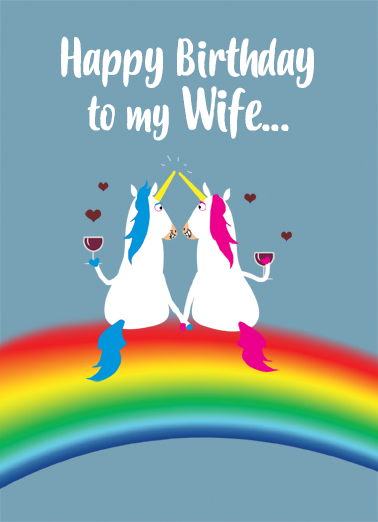 Wife Unicorn Bday Ecard Cover